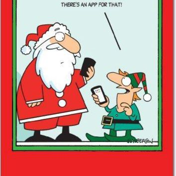 12 'App for That Boxed Christmas' Hilarious Greeting Cards, Happy Holidays Note Cards with Envelopes for Xmas, New Year, Gifts, Funny Stationery Set with Santa and Elf Comic, Greeting Cards