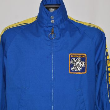 70s Michelin Tires Blue And Gold Racing Jacket Small