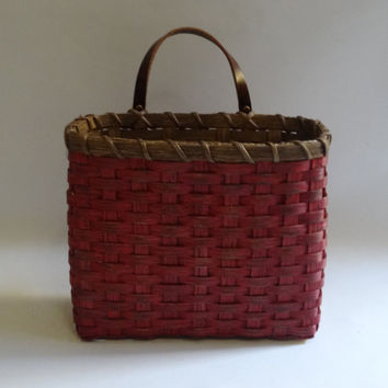 Mail Basket / Wall Basket-Painted / Primitive Style  Wall Basket / Handwoven Basket