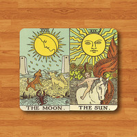 Tarot Card The Moon And The Sun Mouse Pad Drawing Horo Yibsee MousePad Fabric Rectangle Matte Personalized Gift Custom Desk Computer Pad