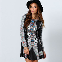 Black Retro Print Backless Mini Dress