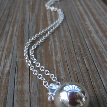 """Harmony Ball Necklace, Bola Necklace, Pregnancy Necklace, Long Silver Necklace, 14mm (1/2 inch) and 36"""""""