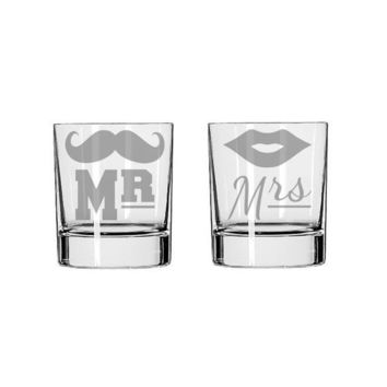 Mr and Mrs Mustache and Lips - 2 Rocks Glasses - Deep Etched Straight Sided Rocks Glass, Whiskey Glass, His and Her Glass, Mustache Cup
