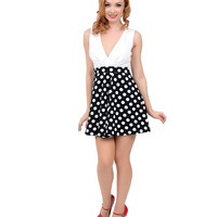 White & Black Polka Dot Sleeveless Two Tone Fit & Flare Dress