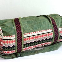 Green Canvas Duffle Bag for Men Women, Native inspired, Hipster travel bag, Summer camp overnight bag, Cotton Sport Gym bag, Small Size