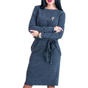 Casual Female Dresses Warm Winter Women Midi Dress Slim Spring 2018 Long Sleeve Loose Knee Length Bodycon Dress Female LX364
