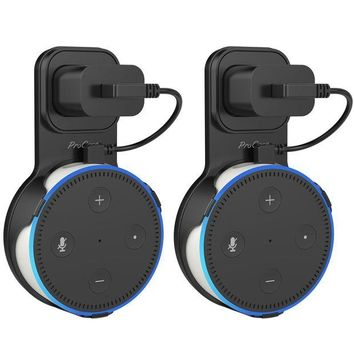 ONETOW ProCase Dot Wall Mount Outlet Hanger Clip for Echo Dot 2nd Generation, No Messy Wires or Screws, Amazon Echo Dot 2nd Gen Holder Case Plug Stand for Bathroom Bedroom Kitchens ¨CBlack, 2 Pack