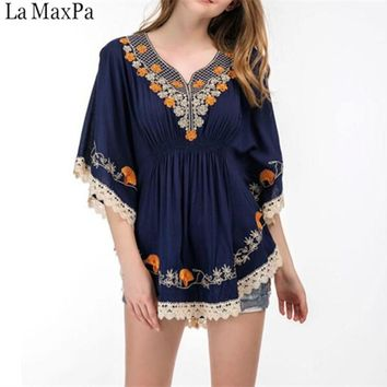 5XL Size Cotton Blouse Tunic Summer 2019 Fashion Casual Embroidery Blouses Women Shirts Batwing Sleeve Crochet Lace Peplum Tops