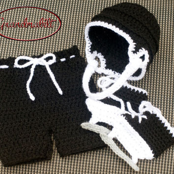 CROCHETED HOCKEY SET Traditional Black & White Helmet Hat, Diaper Cover Hockey Pants and Skates Preemie/ Newborn/ 3 Months.
