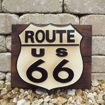 Route 66 Key Cabinet Primitive Wood Wall Decor Sign Retro