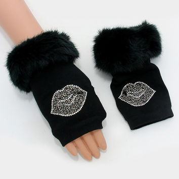 Studded Lips Knit Fur Fingerless Gloves