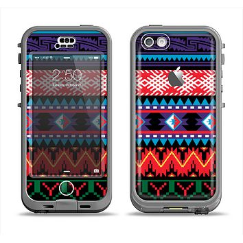 The Vector White-Blue-Red Aztec Pattern Apple iPhone 5c LifeProof Nuud Case Skin Set