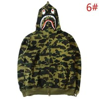 Bape Aape Autumn And Winter Fashion New Shark Eye Tiger Print Camouflage Women Men Hooded Long Sleeve Sweater Coat