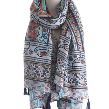 Paisley And Floral Pattern Tasseled Scarf