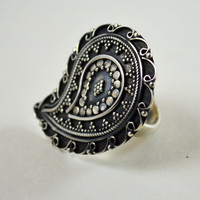 Paisely Cocktail Ring 925 Sterling Silver Ornate Chunky Statement Jewelry Large Dinner Boho Hippie Tribal Engraved Ring Fine Silver