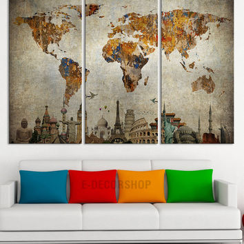 Canvas print world map and wonders of the from edecorshop on etsy canvas print world map and wonders of the world on old paper map canvas painting gumiabroncs Gallery