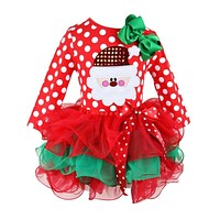 Fashion Princess Dress Lovely Girls Cartoon Clothing Christmas Baby Lace Clothes Cotton Baby Tu tu Dress