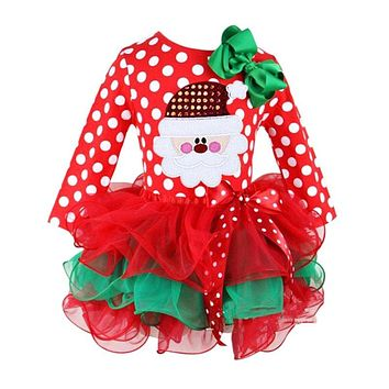 Fashion Princess Dress Lovely Girls Cartoon Clothing Christmas Baby Lace Clothes Cotton Baby Tu tu Dress New