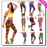 Hot Brand New Capris Outdoor Women Sports Leggings Workout High Waist Floral Printing Fitness Casual Gym Running Wear Super Soft