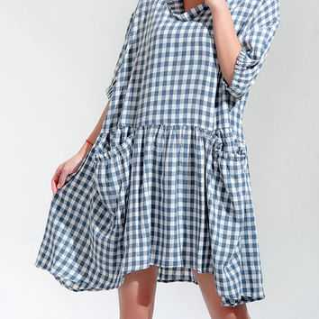 Asymmetric half sleeve Lattice dress