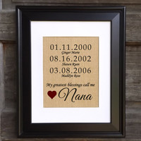 Personalized Gift for Nana | My Greatest Blessings Call Me Nana | Mother's Day Gift from Grandkids | Family Date Sign
