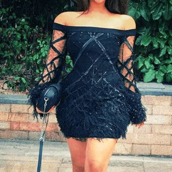Daisy Black Feather Sequin Dress(Back In Stock)