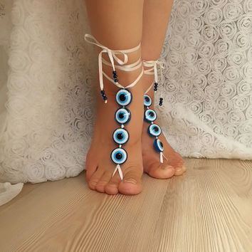 Evil eye bead anklet, FREE SHIP Beach wedding barefoot sandals, Steampunk, Beach Pool, Sexy, Yoga, Anklet , bellydance  bridal party rustic