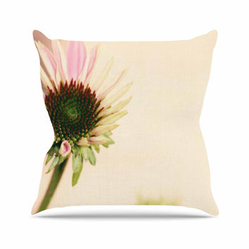 "Sylvia Coomes ""Pink And Yellow Flower"" Blush Floral Outdoor Throw Pillow"