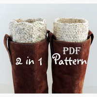 PDF CROCHET PATTERN, 2 in 1 Boot Cuffs, Crochet Boot Cuffs, Crochet Boot Toppers, Fan or Line Design, Digital Download, Lots of Photos