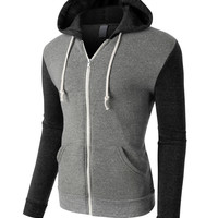 PREMIUM Mens Contrast Sleeve Full Zip Up Fleece Hoodie Jacket