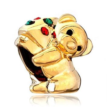 LovelyJewelry Gold Plated Cute Teddy Bear Holding Xmas Tree Red Green CZ Lights Beads For Bracelets