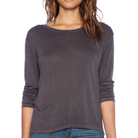 Enza Costa Long Sleeve Boy Tee in Gray
