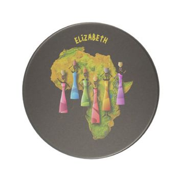 African Women In Colorful Dresses On Africa Map Sandstone Coaster
