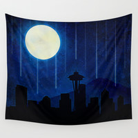 Seattle at Night Wall Tapestry by Noonday Design