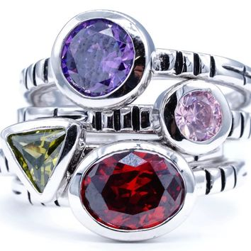 Set of Five for One Price Stackable Silvertone Fashion Rings in Light Pink, Amethyst, Ruby and Olivine Cubic Zirconia