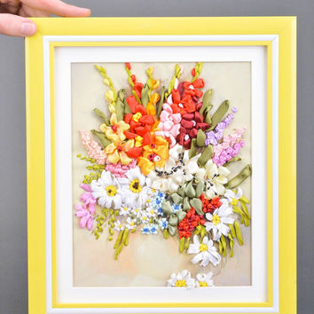 Unusual beautiful handmade satin ribbon embroidery in yellow frame