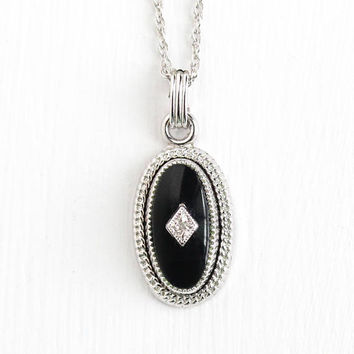 Vintage 12k White Gold Filled Black Onyx Genuine Diamond Pendant Necklace - Retro Mid Century 1960s Dainty Black Gemstone Oval Jewelry