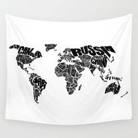 World Word Map - Black and White Wall Tapestry by Ink Of Me Graphics