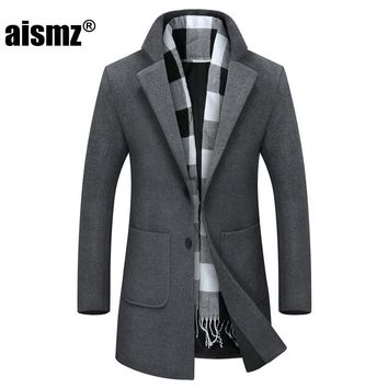 Aismz 2017 New Winter Long Peacoat Men Slim Fit Overcoat Mens Warm Business Casual Jackets Trench Coat For Men F8604
