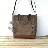Brown Waxed canvas bag zipper, large crossbody purse external pockets, cotton/leather bag, canvas tote bag, brown hobo bag, small travel bag