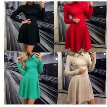 Womens Simple Stylish Long Sleeve Doll Dress
