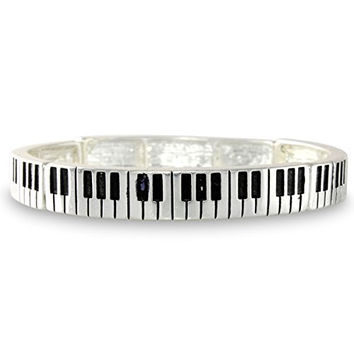 Piano Key Musical Instrument Silver Tone Keyboard Concert Stretch Bracelet
