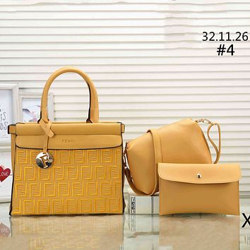 Fendi classic double F letter embossed women's tide brand shoulder bag handbag three-piece #4