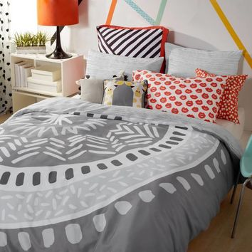 Scribble Medallion Duvet Cover Set in Grey