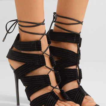 TOM FORD - Lace-up leather-trimmed velvet sandals