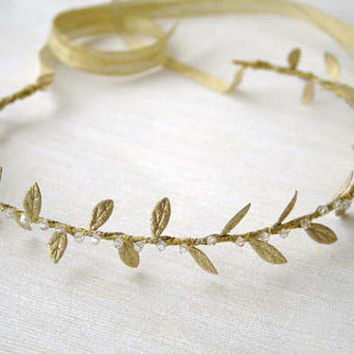 Gold Laurel Leaf Vine Headband with Crystals