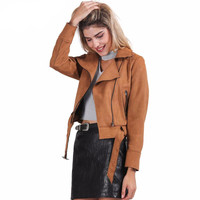 Zipper basic suede jacket coat motorcycle jacket