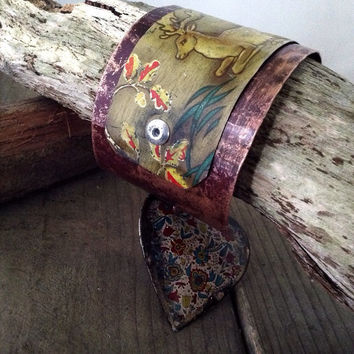 Mixed media tin and copper cuff:  cuff bracelet,  vintage tin cuff, Winter cuff, art jewelry, rustic cuff, assemblage jewelry