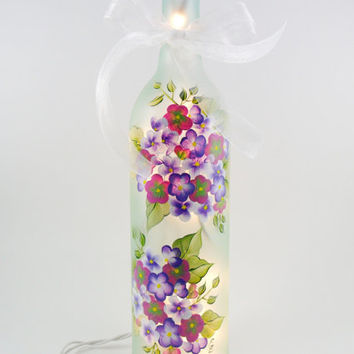 Lighted Wine Bottle Light Hand Painted Pink and Blue Hydrangea