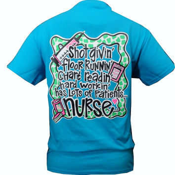 Southern Chics Funny Shot Givin Nurse RN CNA LPN RNA Nurses Girlie Bright T Shirt